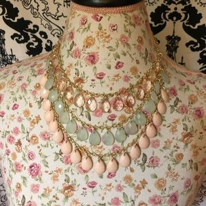 Peach and Green Necklace